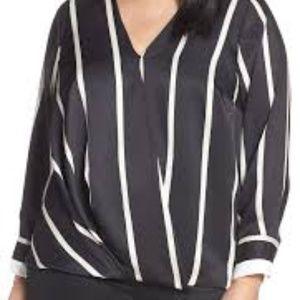 VINCE CAMUTO Stripe Faux Wrap Blouse In Rich Black
